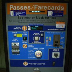 A  Washington subway farecard machine.